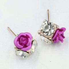 Ceramic Roses Diamond Earring - Oh Yours Fashion - 10