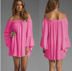 Chiffon Off-shoulder Long Sleeves Irregular Short Dress - Oh Yours Fashion - 1