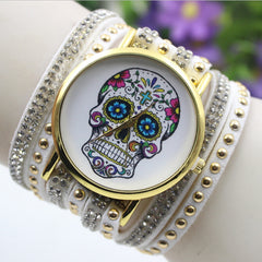 Beautiful Flower Skull Lint Bracelet Watch - Oh Yours Fashion - 2