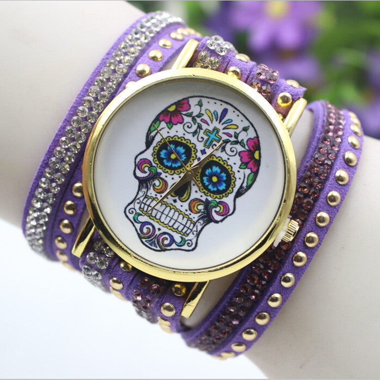 Beautiful Flower Skull Lint Bracelet Watch - Oh Yours Fashion - 3