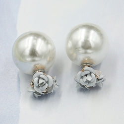 Sweet Roses Flowers Diamond Stud Earrings - Oh Yours Fashion - 1