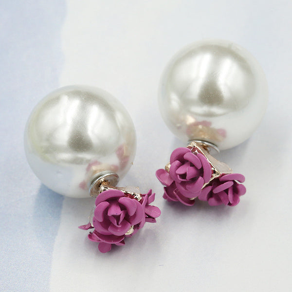 Sweet Roses Flowers Diamond Stud Earrings - Oh Yours Fashion - 2