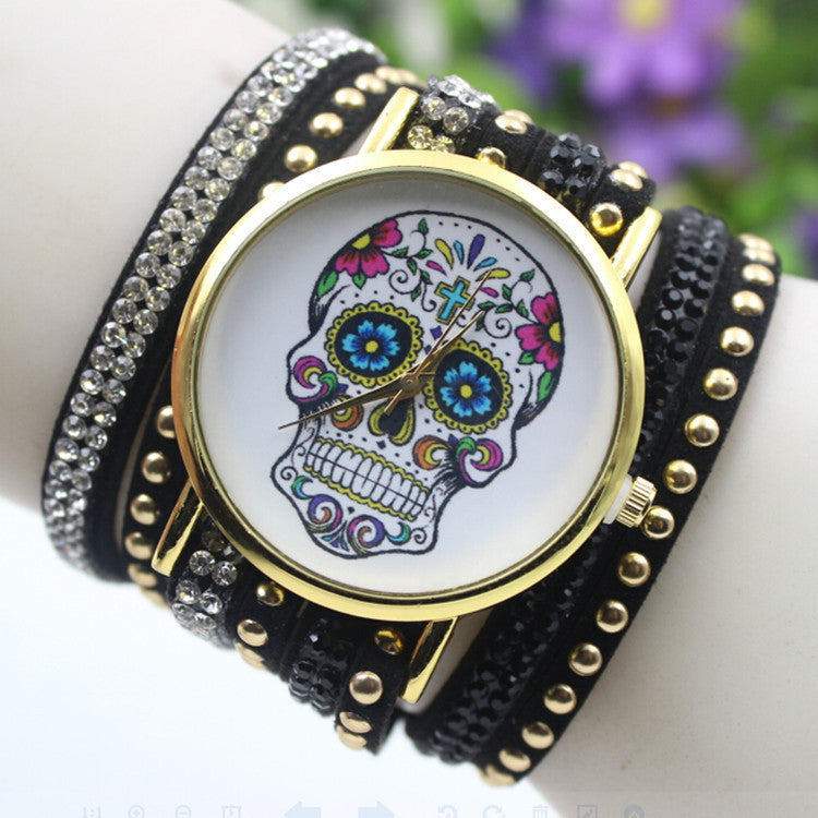 Beautiful Flower Skull Lint Bracelet Watch - Oh Yours Fashion - 4
