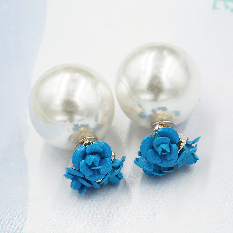 Sweet Roses Flowers Diamond Stud Earrings - Oh Yours Fashion - 3
