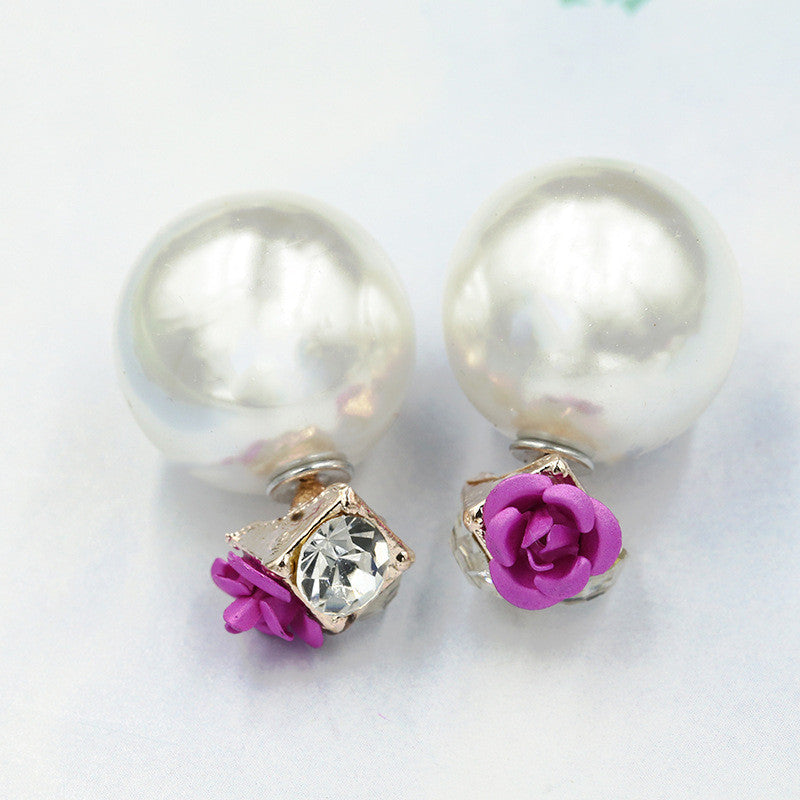 Sweet Roses Flowers Diamond Stud Earrings - Oh Yours Fashion - 10