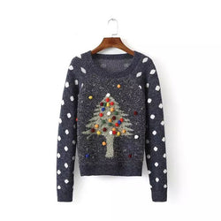Pullover Christmas Tree Print Scoop Long Sleeve Sweater - Oh Yours Fashion - 1