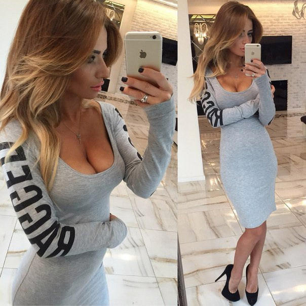 Print Hollow O-neck Long Sleeve Knee-length Dress - Oh Yours Fashion - 5
