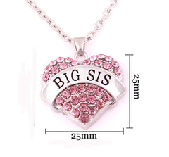 BIG SIS Print Heart-Shaped Crystal Pendant Jewelry Necklace - Oh Yours Fashion - 5