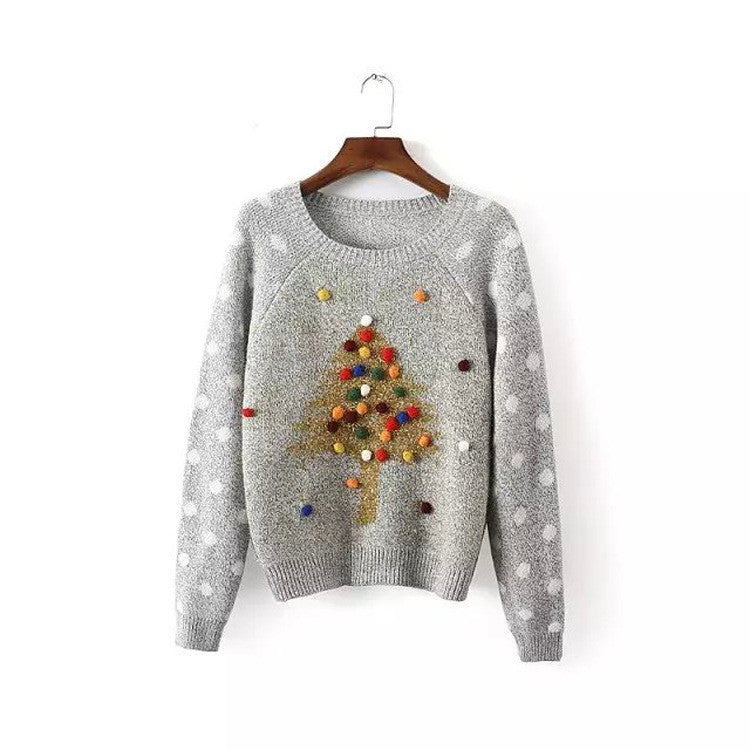 Pullover Christmas Tree Print Scoop Long Sleeve Sweater - Oh Yours Fashion - 2