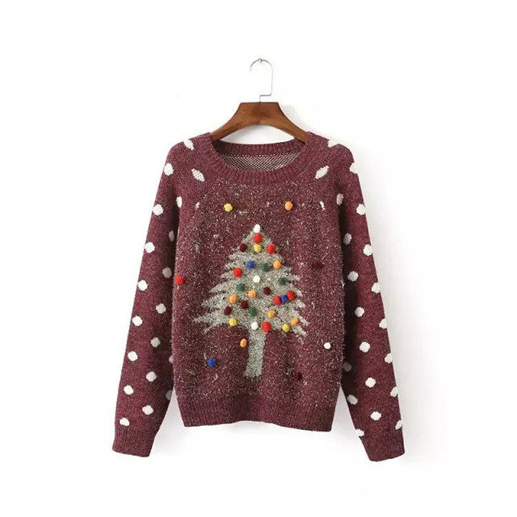 Pullover Christmas Tree Print Scoop Long Sleeve Sweater - Oh Yours Fashion - 3
