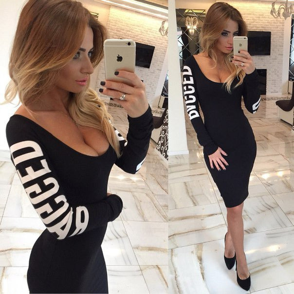 Print Hollow O-neck Long Sleeve Knee-length Dress - Oh Yours Fashion - 1
