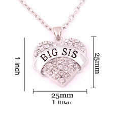 BIG SIS Print Heart-Shaped Crystal Pendant Jewelry Necklace - Oh Yours Fashion - 4