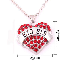 BIG SIS Print Heart-Shaped Crystal Pendant Jewelry Necklace - Oh Yours Fashion - 2