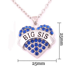 BIG SIS Print Heart-Shaped Crystal Pendant Jewelry Necklace - Oh Yours Fashion - 3