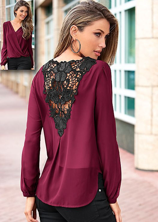 Backless Lace Patchwork V-neck Long Sleeves Chiffon Blouse - Oh Yours Fashion - 2