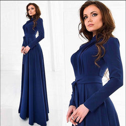 Blue Round Neck Long Sleeve Belt Long Dress - Oh Yours Fashion - 1