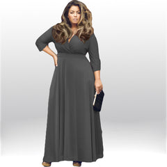 Plus Size V-neck Empire 3/4 Sleeves Party Long Dress - Oh Yours Fashion - 4