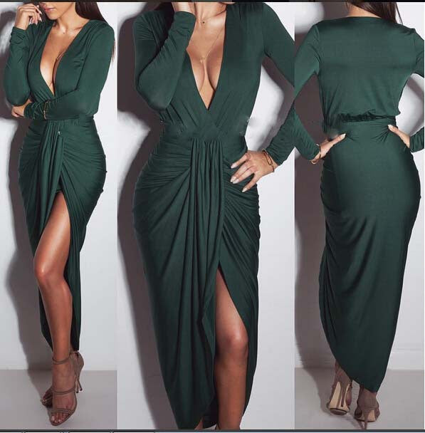 Deep V-neck Irregular Split Ankle Length Club Dress - Oh Yours Fashion - 1