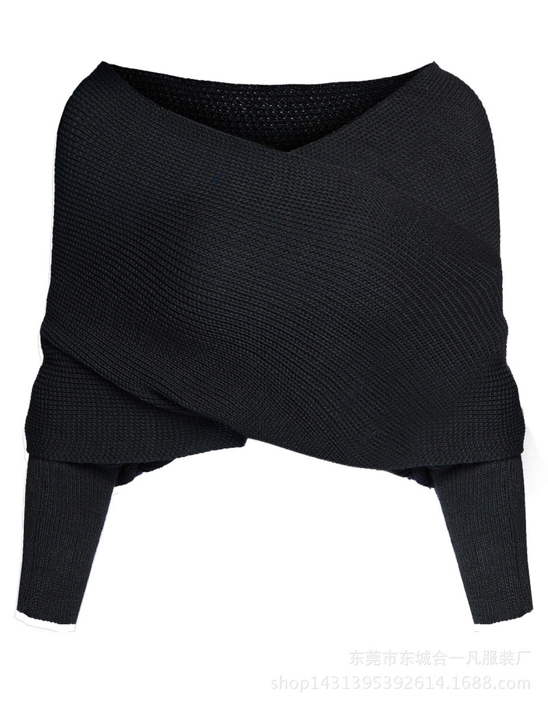 Ribbed Knit Strapless V-neck Off Shoulder Sweater - Oh Yours Fashion - 4