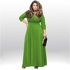 Plus Size V-neck Empire 3/4 Sleeves Party Long Dress - Oh Yours Fashion - 5