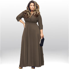 Plus Size V-neck Empire 3/4 Sleeves Party Long Dress - Oh Yours Fashion - 6