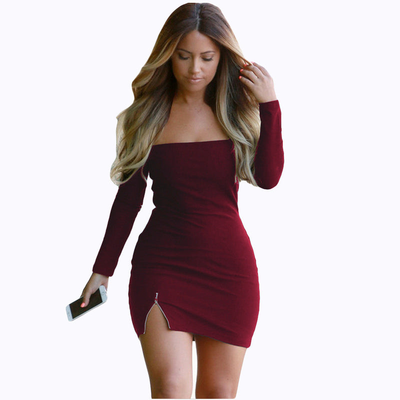 Pure Color Off Shoulder Bodycon Short Dress - Oh Yours Fashion - 1