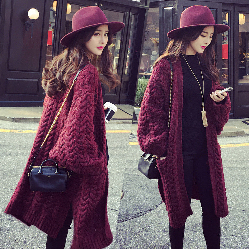 Long Knit Cardigan V-neck Split Loose Sweater - Oh Yours Fashion - 1