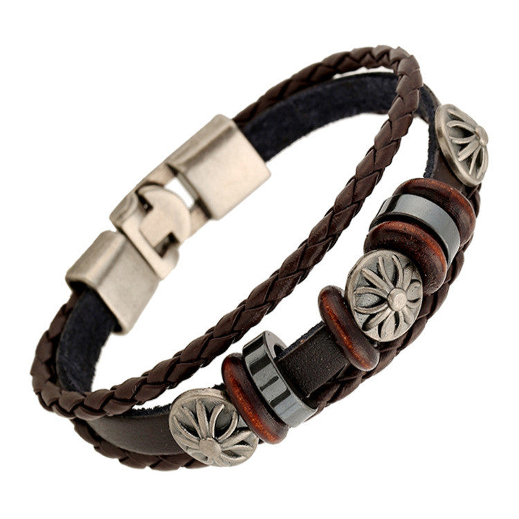 Fashion Flower Beaded Leather Bracelet - Oh Yours Fashion - 4