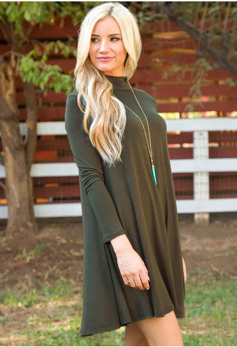 Simple Fashion High Neck Long Sleeve Loose Short Dress - Oh Yours Fashion - 6