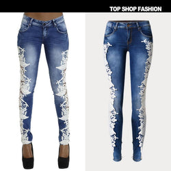 Transparent Lace Patchwork Low Waist Slim Zipper Pants