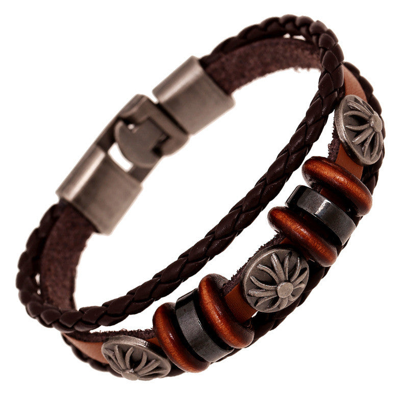 Fashion Flower Beaded Leather Bracelet - Oh Yours Fashion - 2
