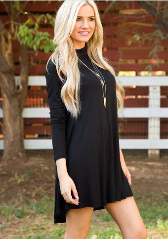 Simple Fashion High Neck Long Sleeve Loose Short Dress - Oh Yours Fashion - 5