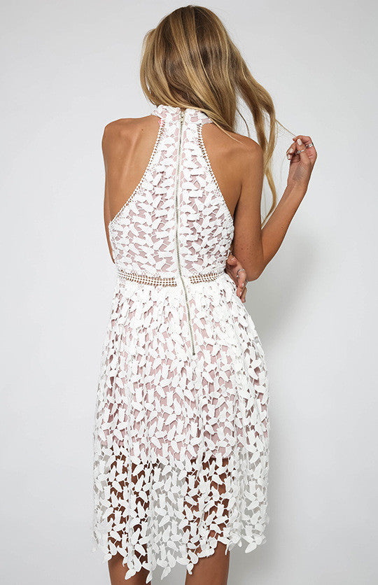 Sexy White Patchwork Lace Sleeveless Dress - Oh Yours Fashion - 4