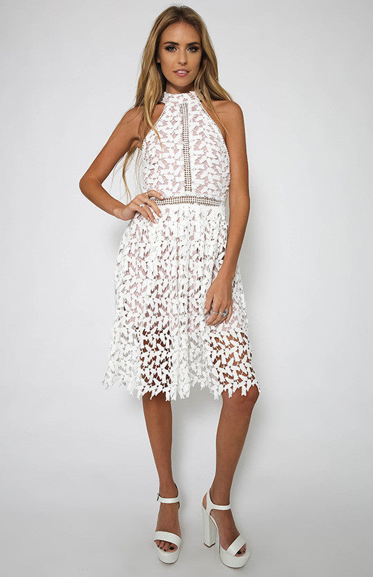 Sexy White Patchwork Lace Sleeveless Dress - Oh Yours Fashion - 6