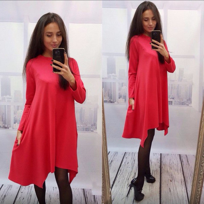 Fashion Loose Irregular Pure Color Dress - Oh Yours Fashion - 1