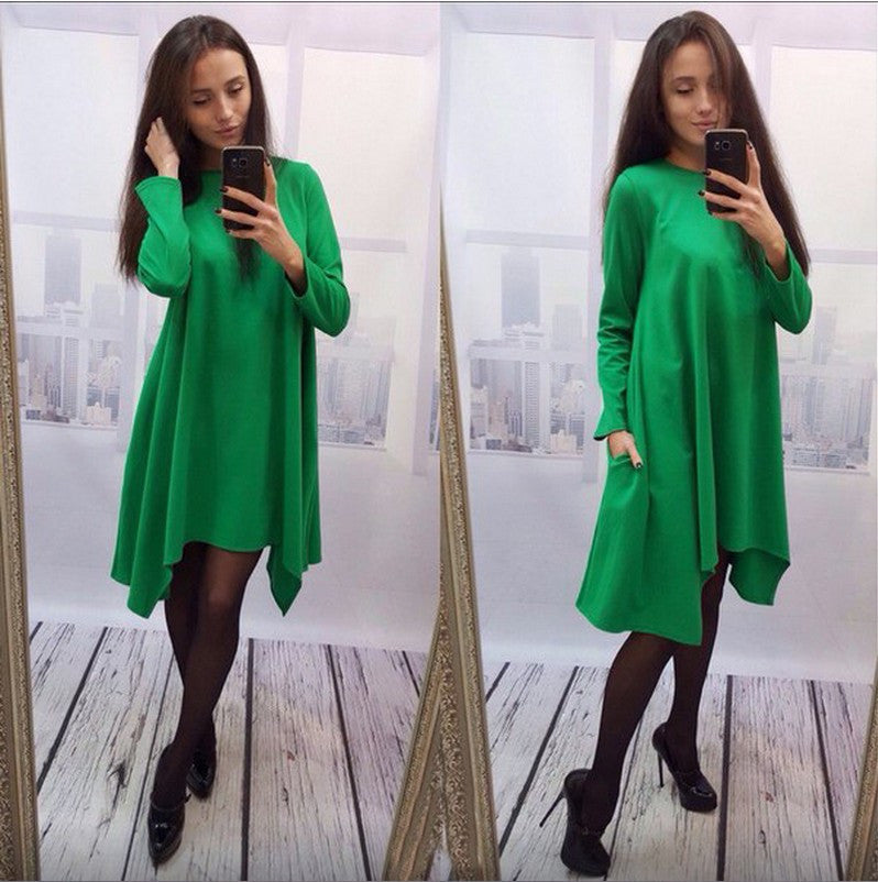 Fashion Loose Irregular Pure Color Dress - Oh Yours Fashion - 2