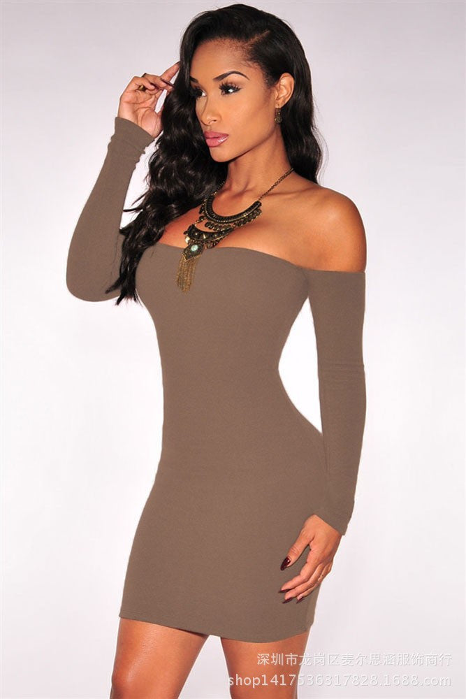 Off Shoulder Pure Color Bodycon Short Dress - Oh Yours Fashion - 2