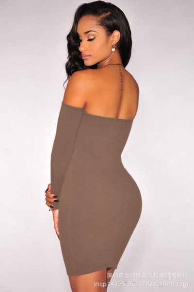 Off Shoulder Pure Color Bodycon Short Dress - Oh Yours Fashion - 3