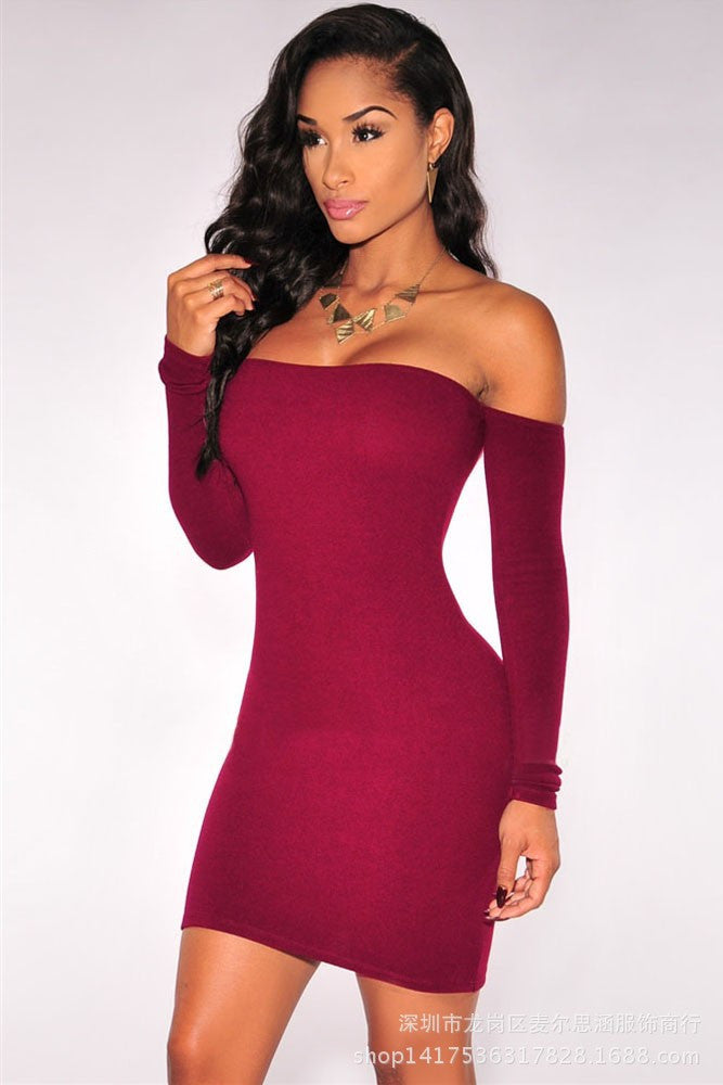 Off Shoulder Pure Color Bodycon Short Dress - Oh Yours Fashion - 4
