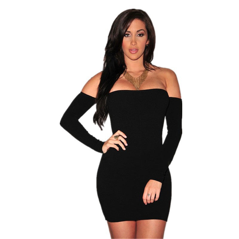 Off Shoulder Pure Color Bodycon Short Dress - Oh Yours Fashion - 5