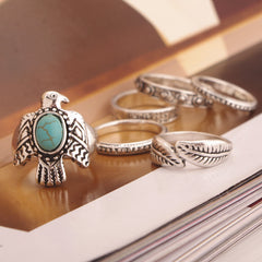 Dove Leaf Carved Combination Ring - Oh Yours Fashion - 3