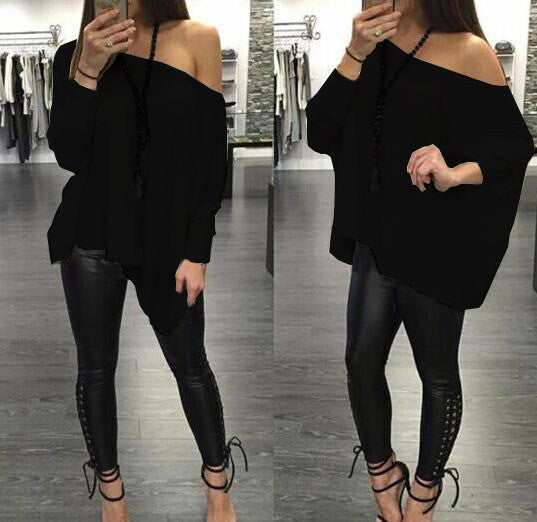 Sexy Scoop Long Sleeve Pure Color Casual Loose Blouse - Oh Yours Fashion - 4