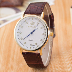 Classic Crystal Dial Leather Watch - Oh Yours Fashion - 2