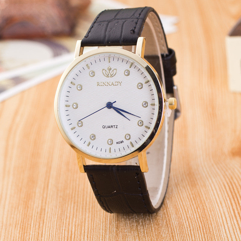 Classic Crystal Dial Leather Watch - Oh Yours Fashion - 1