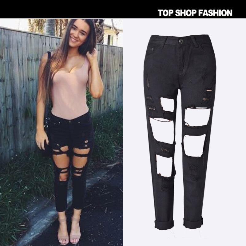 Boyfriend Style Bagger Hole Packets Loose Long Zipper Pants