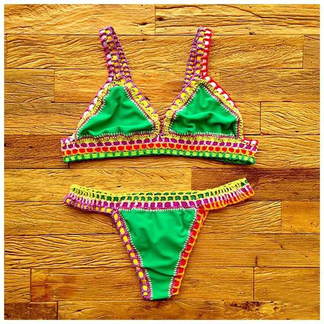 Hand Made Knit Bikini Low Waist Set Swimwear - Oh Yours Fashion - 5