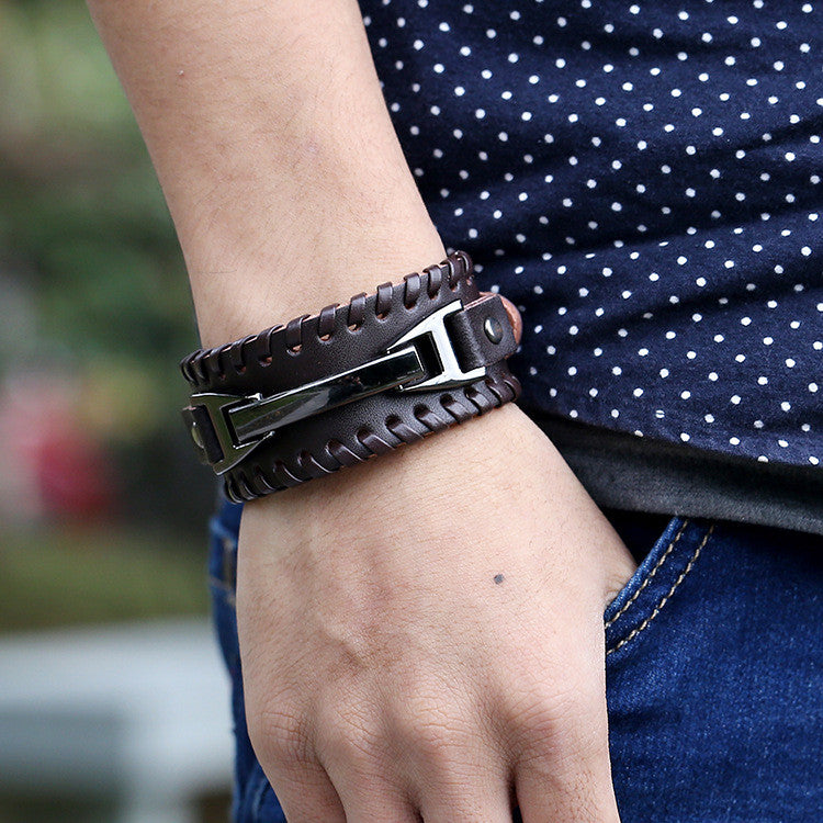 Punk Style Braided Leather Bracelet - Oh Yours Fashion - 5