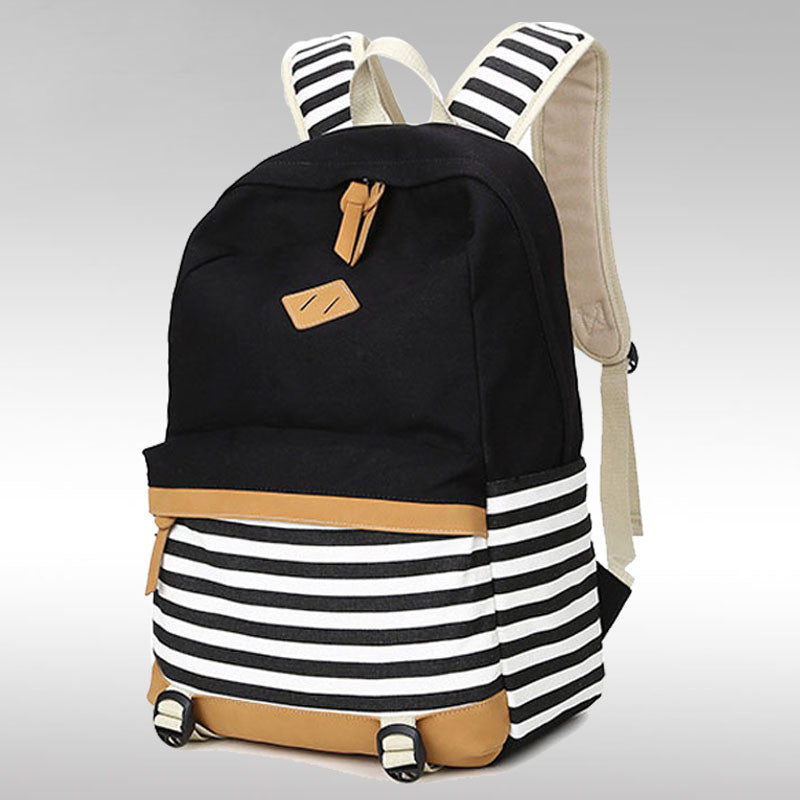 Stripe Print Fashion Canvas Backpack School Travel Bag - Oh Yours Fashion - 4