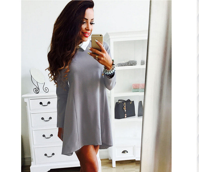 Pure Color Irregular Slim O-neck Sleeveless Short Dress - Oh Yours Fashion - 5