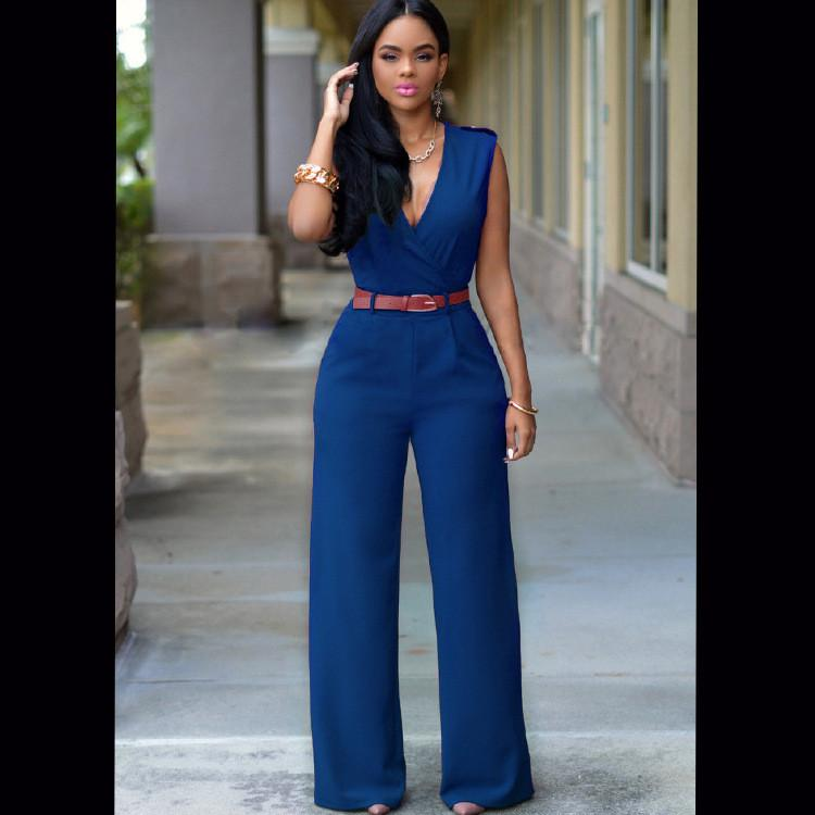 Irregular V-neck Sleeveless Wide Leg Pants Belt Long Jumpsuits - Meet Yours Fashion - 7